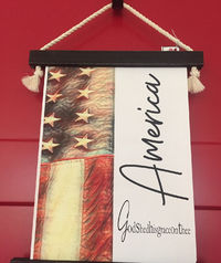 Patriotic America God Shed His Grace Wall Hanging (small) $35.00