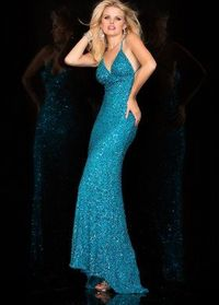 2016 Scala 47551 Open Back Sequin Beaded Prom Gown