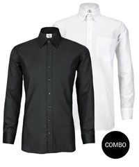 White Twill and Black Satin Button Down Shirt Combo Pack �'�2499.00