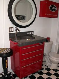 Garage Inspired #Mancave Bathroom Pinned for Electric Football by Tudor Games #electricfootball #tudorgames