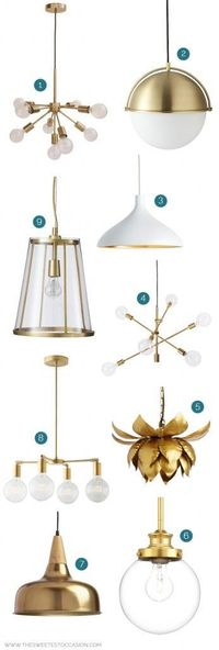 9 Awesome Brass Light Fixtures on a Budget (under $350) and other home improvement ideas and home decor inspiration from The Sweetest Occasion