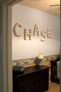 baseball name... My mom wants to do a baseball theme in her nursery if we have a boy... This is a cute idea!