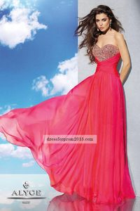Watermelon Sequin Top Strapless Low Back A Line Prom Gown Discount
