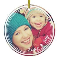 Love and Joy Frame Custom Keepsake Photo Christmas Ceramic Ornament