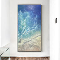 Sea Waves Abstract acrylic painting on canvas Original Seascape Painting extra large navy blue agate living room wall oil painting cuadros $248.75