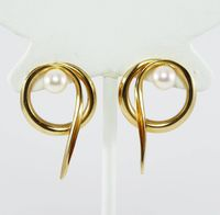 14K Yellow Gold & Pearl Pierced Earrings, Signed Scavezze Studs for Pierced Ears, Circles in a Modernist Anticlastic Design, Vintage 1990s $950.00