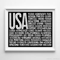 US United States Flag Type 1 Typography Print by Inkist Prints - Available at https://www.inkistprints.com