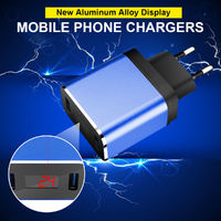 5V 2.4A Travel Charger Adapter Mobile Phone Chargers Aluminum Alloy Display