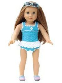 "American Girl 18"" Doll crochet swimsuit inspiration. Annies does sell the PDF pattern"