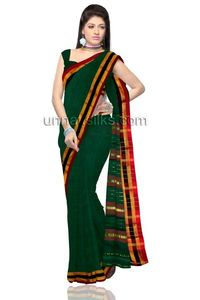 this lovely green color handloom Narayanpet pure cotton saree. The plain cotton saree is beautified with zari woven and maroon,black border with zari woven and maroon color vertical strips green pallu heightened the look and accompanied matching blouse a...