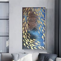Abstract acrylic blue oil Ocean gold fish texture painting on canvas Mordern seascape Wall Art Pictures for living room cuadros abstractos $109.00