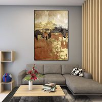 Modern Abstract framed wall art acrylic Gold and black paintings on canvas art original texture painting Large wall art cuadros abstractos $123.75