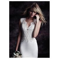 Graceful Satin & Tulle V-neck Sheath Wedding Dresses with Lace Appliques - overpinks.com