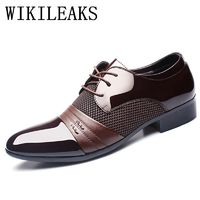 patent leather black italian mens shoes brands wedding formal oxford shoes for mens pointed toe $46.24