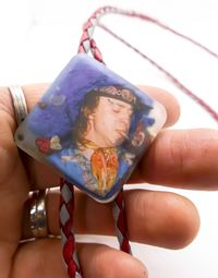 Stevie Ray Vaughn Bolo Tie - Double Trouble! Resin Cast Custom Made - For Blues Rock Fans and Musicians - Grey and Red Real Leather Cords $35.00
