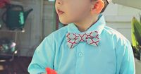 Modern Boys Bowtie - Blue, Red and White $14