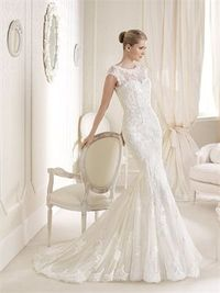 Romantic mermaid bateau lace court train wedding dresses