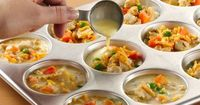 Mini chicken pot pies made with Bisquick. I can see why everyone keeps pinning this!