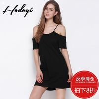 Oversized Vogue Sexy Open Back Off-the-Shoulder One Color Summer Short Sleeves Black Strappy Top Dress Skirt - Bonny YZOZO Boutique Store