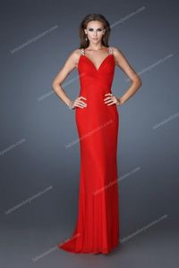 Sexy La Femme 18825 Long Ruched Sweetheart Red Prom Gown