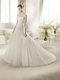 2014 Romanric v-neck lace sweep train a-line wedding dress