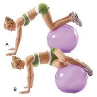 Stability Ball Twist- From pushup position, place your shins on a stability ball so that you straddle the ball knees-to-ankles. With abs held tight, slowly roll your knees to the left, then use your obliques to roll your knees back to the start. Repeat to...