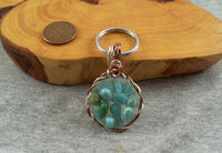 Floating turquoise Key Fob and Ring $6.95