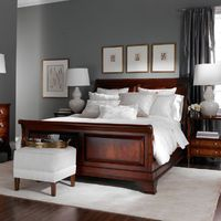 Elegant ~love the leaf drawings over the bed