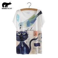 Cat Animal Printed T Shirt Women Tops 2017 Summer Camisetas Mujer Women's T-shirt Femme plus size Casual Tees Shirts $6.46