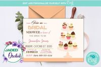 Cupcake Wedding Shower Invitation, Cupcake Bridal Shower Invitation, Wedding Shower, Cupcake Bridal - INSTANT ACCESS - Edit NOW using Corjl $8.99