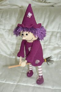 Here's a good amigurumi witch that I think would be cute for the autumn season. Maybe if I have more time to craft for myself, you might find her flying around at my place. Available as a ravelry download: http://www.ravelry.com/patterns/library/good-...