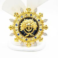 Whimsical Sun King Brooch Pendant with King Louis XIV's Face, Blue and Clear Rhinestones & Faux Pearl Beads Vintage Museum Souvenir Jewelry $48.00