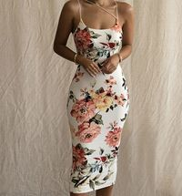 Summer Backless Bodycon Floral Midi Dress for Women