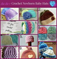 Crochet Newborn Baby Hats - 10 free pattern links