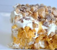 Pumpkin Better Than Sex Cake Mix 1 box yellow cake mix & 1 15 oz pumpkin puree til smooth. Pour in greased 9�—13 & bake at 350 23-28 mins. (according to box) Remove & cool 10 min. Poke holes in top of cake. Pour 1 can sweetened c...
