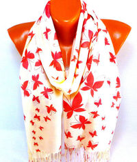 Scarf, Shawl, Pashmina Scarf, Butterfly pattern, Pashmina Shawl with Butterfly painted, Women Fashion Accessories, Gift for Mother's Day $15.50