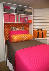 I love this! Shelf & Headboards. Storage and cute!