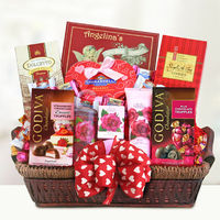 Pamper the one you love the most with this basket full of Valentine delights! This gift combines romance and relaxation and provides soothing delights for your Sweetheart with English rose spa products, including lotion, bath gel and soap.