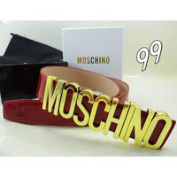 MOSCHINO LOGO BUCKLE LARGE PATENT LEATHER BELT RED