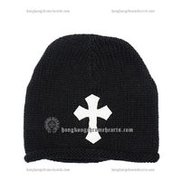 Chrome Hearts Black Knit Cap with White Cross Embellished for Sale