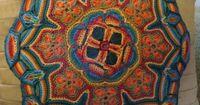 Crocheted Mandala Appliqué Pillow