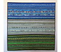 """Quilted wall hanging. Square art for wall. Modern home decor. Blue and green quilt. Abstract fiber art. 38x38"""". Modern quilt. Textile art. by AnnBrauer on Etsy"""