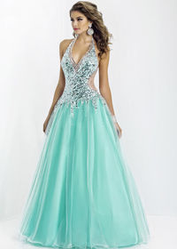 Mint Halter Beaded Illusion Sequin Sheer-sides Ball Gown