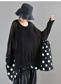 Black stitching polka dot woman long sleeve top, tops for women, hipster t-shirts, hipster clothing, hipster shirt, Polka dot shirt