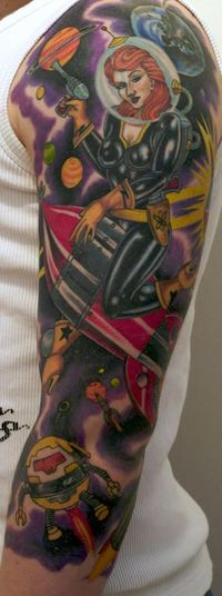 tattoo sleeve   ... girl outer space theme sleeve tattoo buddhist theme arm sleeve tattoo