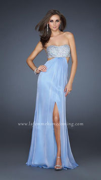 4b0f5df142 Long Sequin Open back Light Blue Strapless Homecoming Dresses La Femme 16291