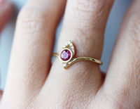 Pink Tourmaline Crown Diamond Engagement Rings Set, Valentine's Day gift for her, 14K Yellow Gold, Delicate gold ring, Size 7 $663.00