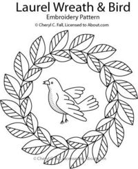 Laurel Wreath with Bird Redwork Pattern: Pattern for the Laurel Wreath with Bird
