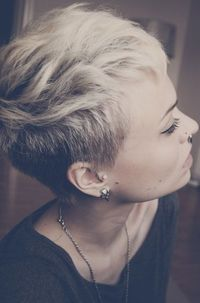 Best Short Haircuts;Funky, Blonde, Side Shaved, Side View, Asian, Bleached, Oval Faces, Cute, Asymmetrical, Girls, Round Faces, Summer, Trendy, Thick Hair,
