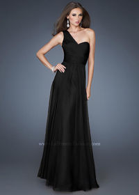 Black One Shoulder La Femme 18466 Sheer Back Long Prom Dress